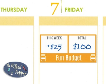 Fun Budget Sticker [Printable]. Budgeting, saving, finance, save money. Erin Condren planner.