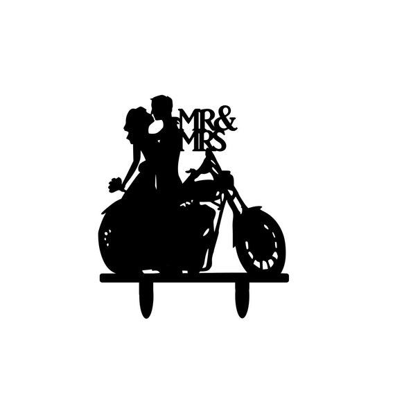 Motorcycle Couple Wedding Cake Topper By 1thecherryontop