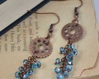 Antiqued Copper Gear and Blue Czech Beads Earrings