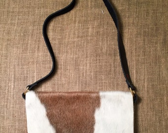 Cowhide Messenger (taupe and white)