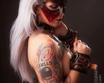 Handmade Leather Mask | Unique Statement piece Renaissance Dark Storm Leather Handmade Masquerade Mask