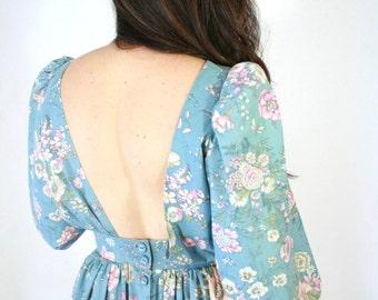 1960s Vintage Blue Floral Open Back Dress