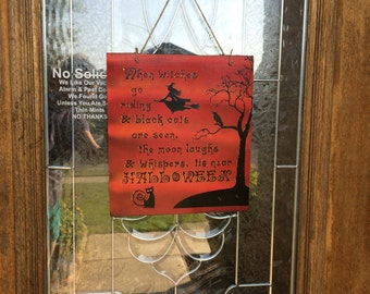 When Witches Go Riding Sign, Witch Sign, Halloween Sign