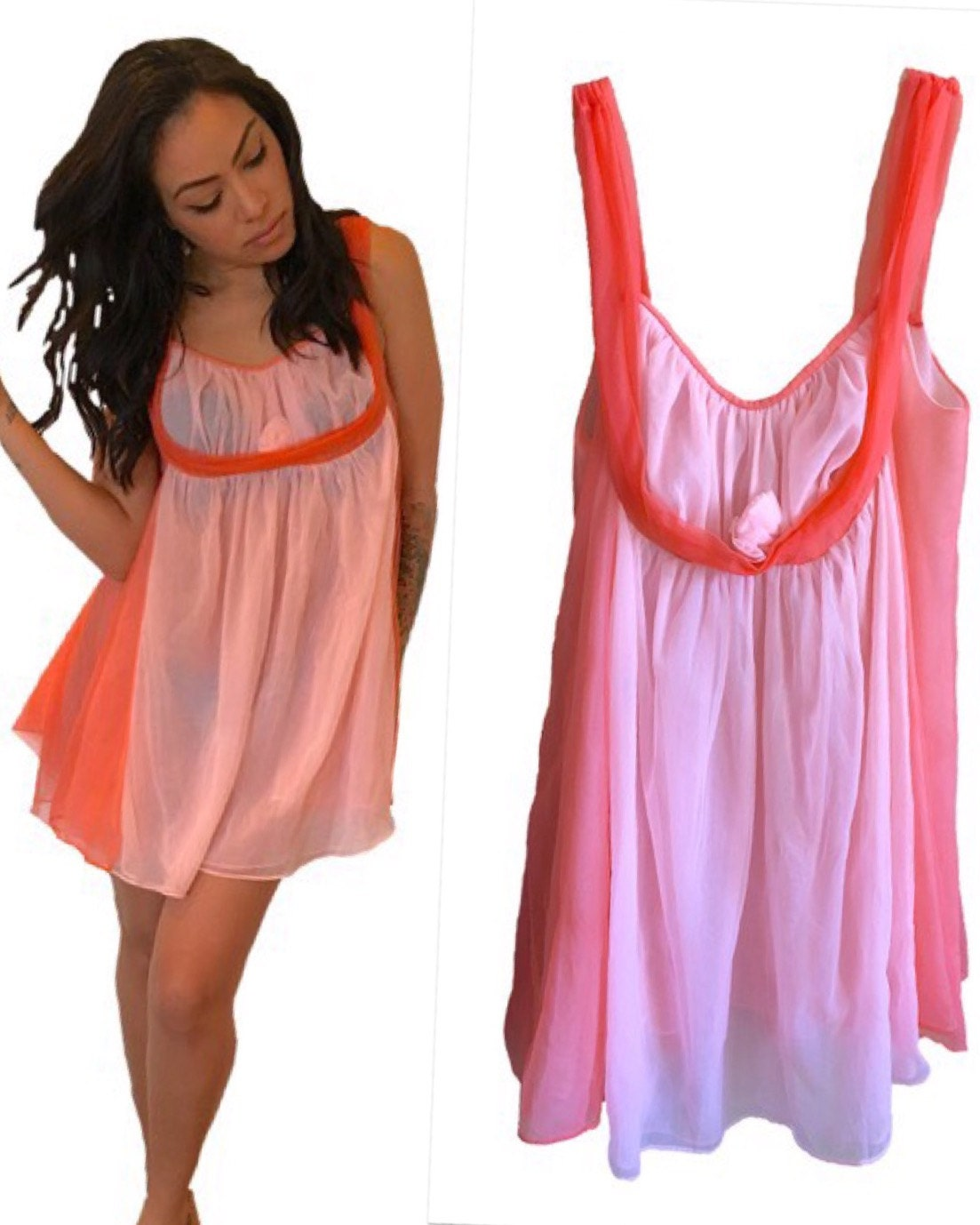 Pink Baby Doll Vintage Lingerie Nighty Nightie Coral Two Toned