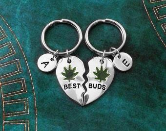 Best Buds Keychain Set SMALL Broken Heart Keychains Best Friend Keychains Best Friends Stoner Friendship Keychains Pot Marijuana Keyring