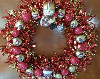 10 inch Red & Gold 49'er wreath