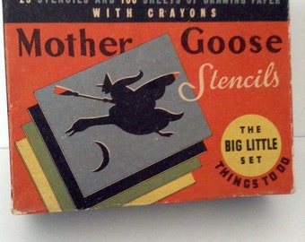 Complete Set of 1940's Mother Goose Stencils by Whitman