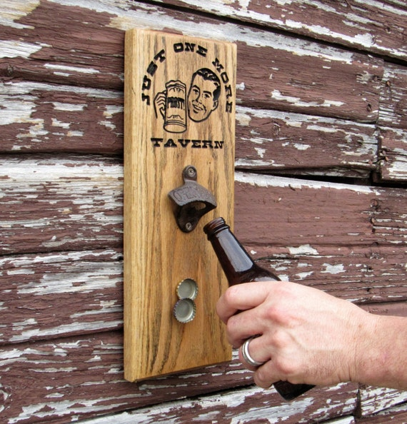 Wall mount beer bottle opener magnetic cap catch carved - Bottle opener wall mount magnet ...