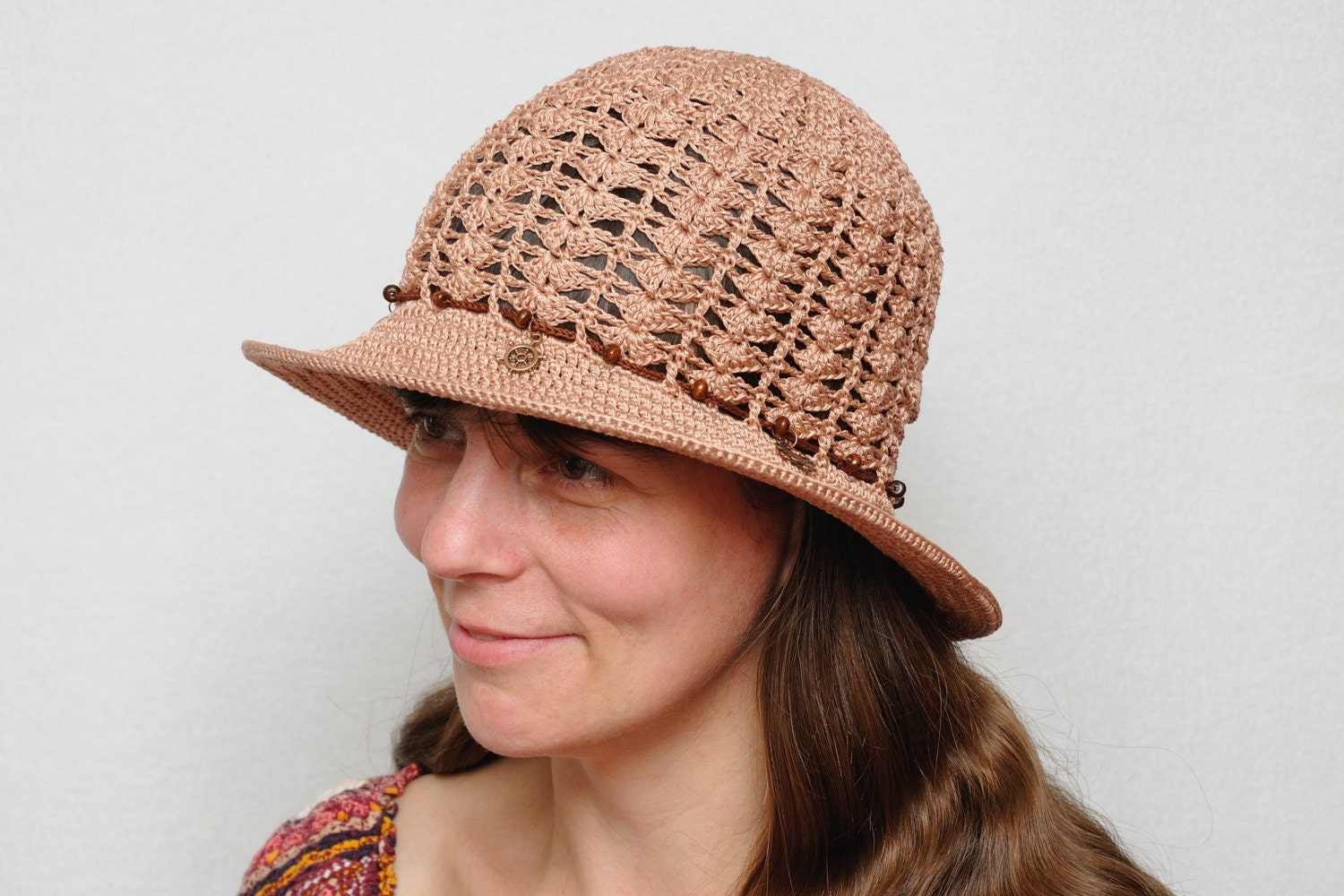 sun hat with charms crochet hat summer hat womens by