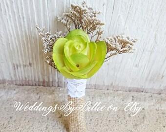 Green Boutonniere, Chartreuse Green Sola, Green Buttonhole, Bridal Accessories, Alternative Boutonniere, Sola, Groomsmen, Wedding Flowers