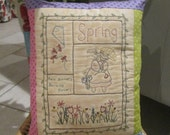 Spring Sampler Decorative Pillow - Hand Embroidered