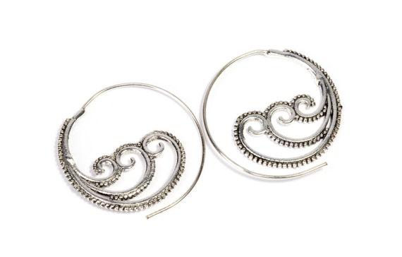 White Brass Tribal Waves Design Spiral Earrings Tribal Earrings Mandala Jewellery Free UK Delivery WB41
