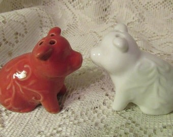 Tiny Pig Salt and Pepper Shakers, Red and White