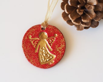 Angel Christmas ornament -Gold angel christmas decoration -Blac / red angel ornament -Elegant Christmas tree decor -Glittery Christmas decor