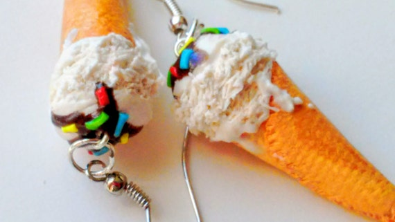 Vanilla Ice Cream Cone Earrings - Miniature Food Jewelry - Inedible Jewelry - Ice Cream Earrings - Junk Food Jewelry - Gifts for Foodies