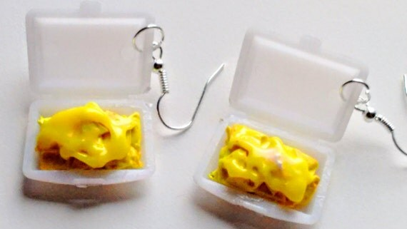 Cheese Nachos Takeout Earrings - Miniature Food Jewelry - Inedible Jewelry - Gifts for Foodies, Cheese Nachos Jewelry, Kawaii - Mexican Food