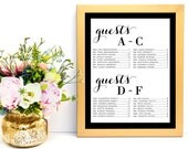 Wedding Seating Chart, Seating Chart Template, Wedding Seating Cards, Alphabetical, Seating Chart Printable, PDF Instant Download, WBWD3
