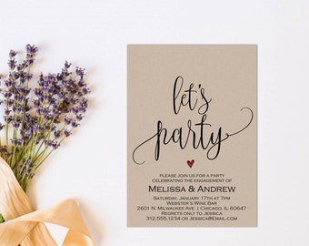 Engagement Party Invitation, Let's Party, Printable Invitation, Editable Invitation, Engagement Party PDF, Party Invitation, Party, WSET5