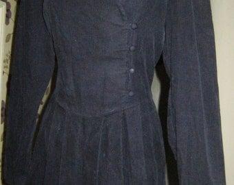 1990's Laura Ashley Navy Baby Corduroy Dress  - size 14 UK