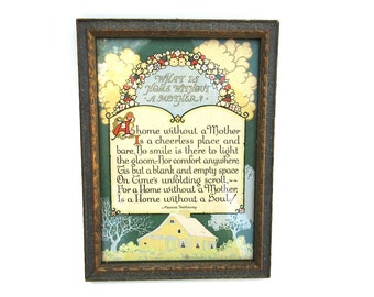 Vintage 1920s framed motherhood poem, Maurine Hathaway quote artwork, art deco mommy quote, gift for mother, mother's day