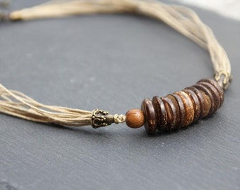 ethnic / Nature Necklace, linen, coco beads, bayong wood, bronze colored metal