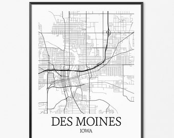 Des Moines Map Art Print, Des Moines Poster Map of Des Moines Decor, Des Moines City Map Art, Des Moines Gift, Des Moines Iowa Art Poster