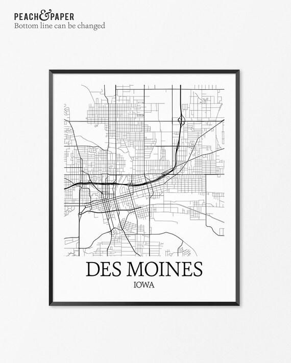 des moines map art print des moines poster map of des moines