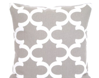 Taupe Ecru Tan Decorative Throw Pillow Covers, Cushions, Moroccan Quatrefoil Fynn Couch Pillows, Throw Pillow One or More All Sizes