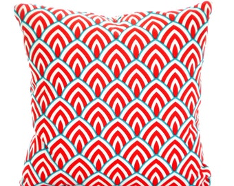 OUTDOOR Pillow Covers, Decorative Throw Pillows Cushion Covers Coral Red Aqua White Lalo Calypso, Beach Decor, Patio, One ALL SIZES