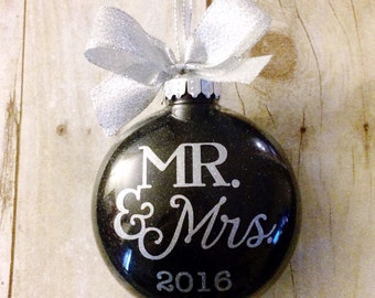 Personalized Wedding Ornament, Wedding Christmas Ornament, Gift for Newlyweds, Our First Christmas Ornament Married, Personalized Christmas