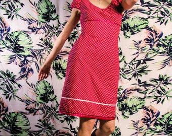 Dress Bio-Arletta: organic cotton, red, white, dots