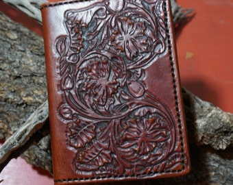 Leather Passport Cover With Western Tooling