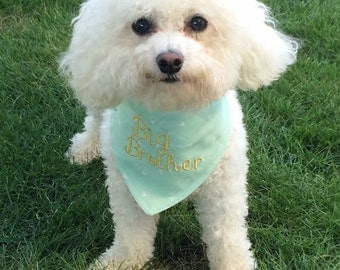 Big brother dog bandana, Baby announcement bandana, Mint and gold dog bandana, Monogrammed dog bandana, Personalized dog bandana