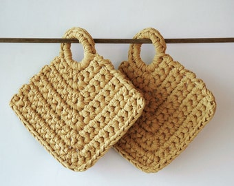 2 extra thick hanging potholders in mustard t-shirt yarn - ready to ship