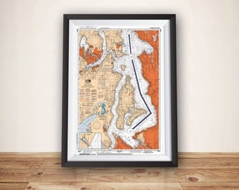 Seattle Map Art, Nautical Chart, Puget Sound, Map Art, Seattle, Seattle Print, Sailing Art, Sailing Decor, Beach House Decor