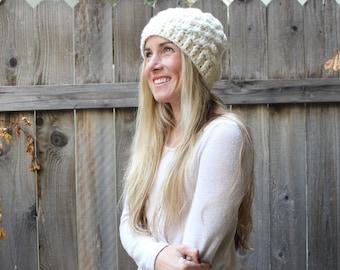 Crochet Shell Stitch Beanie/Cream