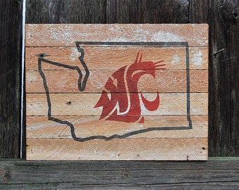 Washington State Cougars wood sign, WSU Sign, Washington State University sign, Cougs, Cougars, Man Cave, Wall Art, Home Decor, Rustic Sign
