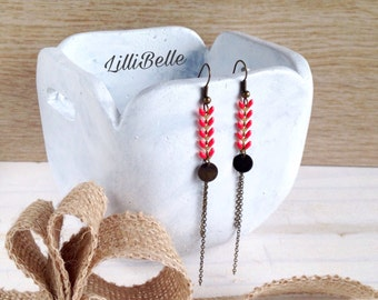 Earrings long coral, epi enameled chain and primer color bronze