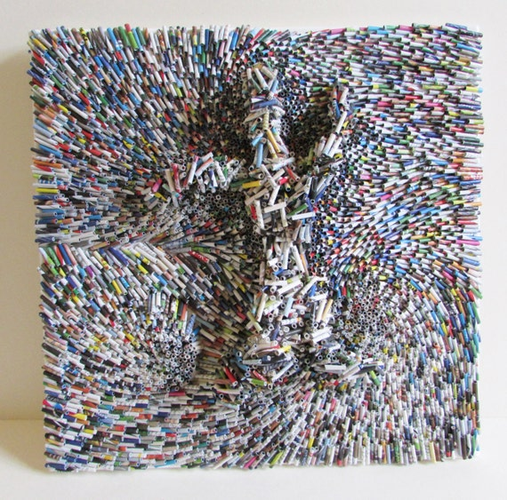wandbild collage 40x40 cm recycling kunst auf keilrahmen. Black Bedroom Furniture Sets. Home Design Ideas