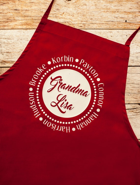 Grandmother Apron Personalized, Nana Mimi Grandma Christmas gift, grandkids, grandparents, baking cookies, Christmas party, Holiday gifts