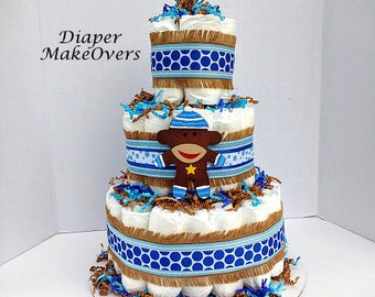 Blue Sock Monkey Diaper - Diaper Cake - Baby Shower Centerpiece or Decoration