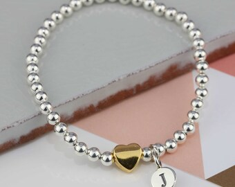 Silver Bead 'Milly' Friendship Bracelet with Gold Heart Charm Personalised with a Solid Silver Stamped Initial Charm