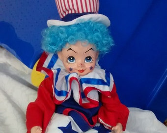 Porcelain Clown Doll Happy Patriotic Collectible Red White and Blue USA Gift Toy