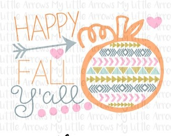 Happy fall yall SVG, DXF, EPS, png Files for Cutting Machines Cameo or Cricut - womens halloween shirt - diy halloween - cute halloween
