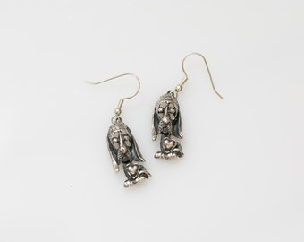 Dog Earrings Sterling Silver Dangling Long Shiny Silver Oxidized Jewelry - Aleks Jewelry