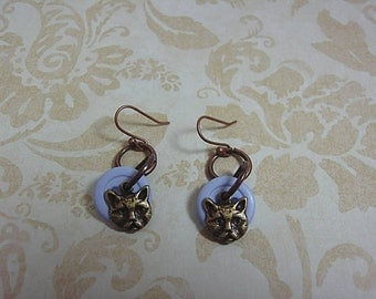 Cat Charm and Button Earrings