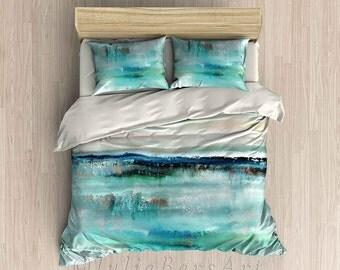Duvet Cover, Beach Comforter Set, Blue Teal Turquoise Beige, Ocean Bedding, Bedroom Decor, Coastal Bedding, Pillowcase Set, King Queen Twin