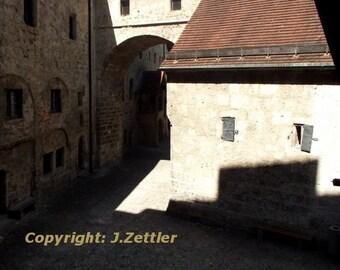 Ancient Castle, Burghausen Castle, Bavaria, Germany, Photo Print, abstract Photo,
