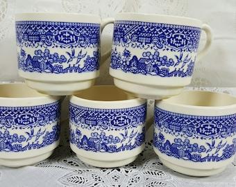 Blue Willow Coffee Mugs USA Pottery  (Set Of 5)
