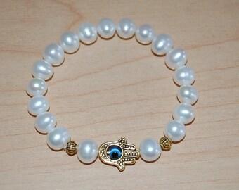 Natural Fresh Water Pearl 9mm,Hamsa Hand Evil Eye Charm Bracelet,Elastic,Easy Fits